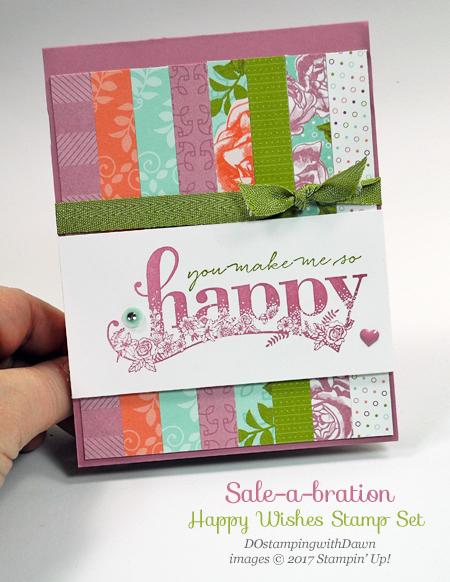 Sale-a-Bration Happy Wishes Stamp set card shared by Dawn Olchefske #dostamping #stampinup #saleabration #happywishes #SAB #diy #cardmaking