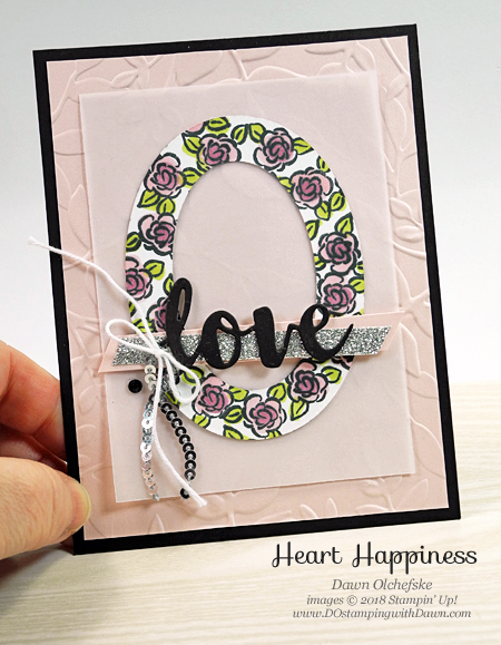 Stampin' Up! Heart Happiness card by Dawn Olchefske #dostamping #stampinup #weddingcards #anniversarycards #valentinesdaycards #bigshot #diy #homemadecards #hearthappiness #rubberstamping