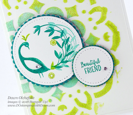 Stampin' Up! Beautiful Peacock (Sale-a-Bration) and Embossing Paste card by Dawn Olchefske for DOstamperSTARS Thursday Challenge #DSC266 #dostamping #stampinup #handmade #cardmaking #stamping #diy #beautifulpeacock #saleabration #birthdaycards #techniquecards #embossingpaste #papercrafting #rubberstamping #decorativemasks