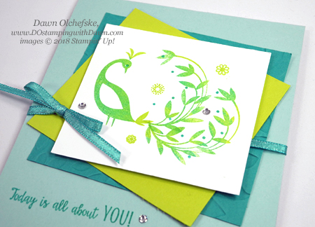 Stampin' Up! Sale-a-Bration Beautiful Peacock Technique card by Dawn Olchefske #dostamping #stampinup #saleabration #beautifulpeacock #cardmaking #rubberstampin #diy #homemade #birthdaycards #papercrafting