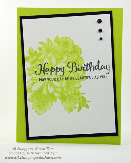 Stampin' Up! Sale-a-Bration Heartfelt Blooms swaps shared by Dawn Olchefske #dostamping #stampinup #handmade #cardmaking #stamping #diy #rubberstamping #papercrafting #saleabration #birthdaycards #heartfeltblooms (Karen Titus)