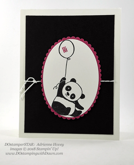 Stampin' Up! Sale-a-Bration Party Pandas swaps shared by Dawn Olchefske #dostamping  #stampinup #handmade #cardmaking #stamping #diy #rubberstamping #papercrafting #partypandas #dostamperstars (Adrienne Hovey)