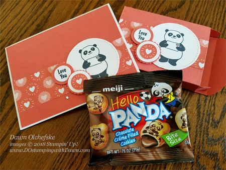 Learn how to create a fun panda cookies treat box using Stampin' Up!'s Lots to Love Box Framelits, Party Pandas and Bubble & Fizz Designer Series Paper from Dawn Olchefske, #dostamping  #stampinup #handmade #cardmaking #stamping #diy #rubberstamping #papercrafting #packingideas #valentinesdaytreats, lotstoloveboxframelits #partypandas #bubble&fizzDSP
