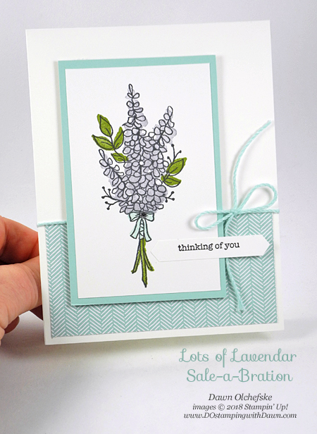 Stampin' Up! Sale-a-Bration Lots of Lavender card by Dawn Olchefske for DOstamperSTARS Thursday Challenge #DSC270 #dostamping #stampinup #handmade #cardmaking #stamping #diy #rubberstamping #papercrafting #thinkingofyou #floralstamps #lotsoflavender #saleabration