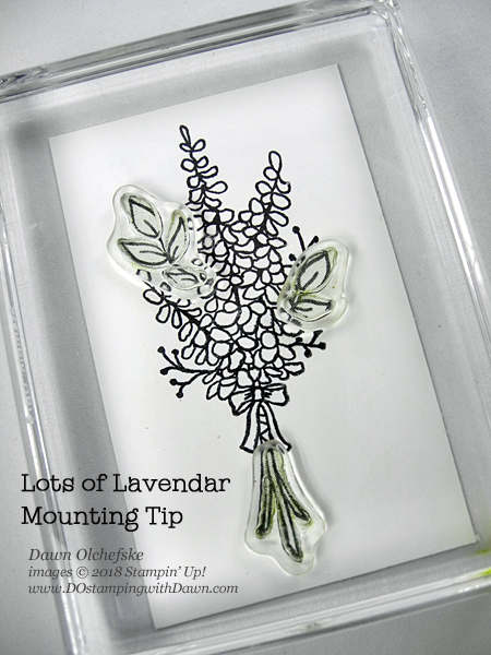Mounting Tip for Stampin' Up! Sale-a-Bration Lots of Lavender stamp set from Dawn Olchefske #dostamping #stampinup  #stamping #rubberstamping #lotsoflavender #saleabration