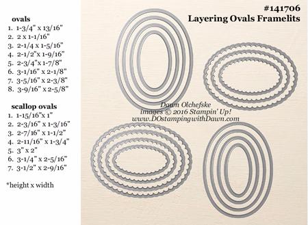 Layering Ovals Framelits Dies sizes shared by Dawn Olchefske #dostamping #stampinup