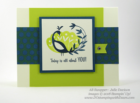 Stampin' Up! Sale-a-Bration Beautiful Peacock swap card shared by Dawn Olchefske #dostamping #stampinup #handmade #cardmaking #stamping #diy #rubberstamping #papercrafting #birthdaycards #beautifulpeacock #saleabration (Julie Davison)