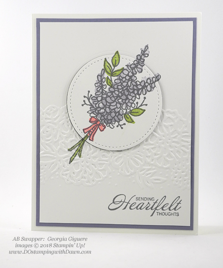 Stampin' Up! Sale-a-Bration Lots of Lavender swap card shared by Dawn Olchefske #dostamping  #stampinup #handmade #cardmaking #stamping #diy #rubberstamping #papercrafting #thinkingofyoucards #lotsoflavender #saleabration (Georgia Giguere)