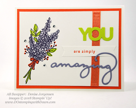 Stampin' Up! Sale-a-Bration Lots of Lavender swap card shared by Dawn Olchefske #dostamping  #stampinup #handmade #cardmaking #stamping #diy #rubberstamping #papercrafting #thinkingofyoucards #lotsoflavender #saleabration (Denise Jorgensen)