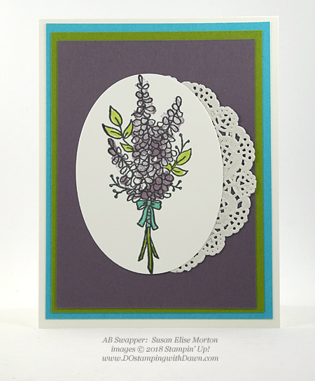 Stampin' Up! Sale-a-Bration Lots of Lavender swap card shared by Dawn Olchefske #dostamping  #stampinup #handmade #cardmaking #stamping #diy #rubberstamping #papercrafting #thinkingofyoucards #lotsoflavender #saleabration (Susan Elise Morton)