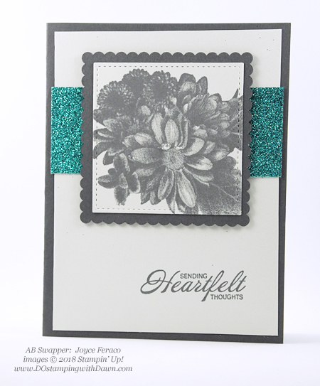 Stampin' Up! Sale-a-Bration Heartfelt Blooms swap card shared by Dawn Olchefske #dostamping  #stampinup #handmade #cardmaking #stamping #diy #rubberstamping #papercrafting #thinkingofyoucards #heartfeltblooms #saleabration (Joyce Feraco)
