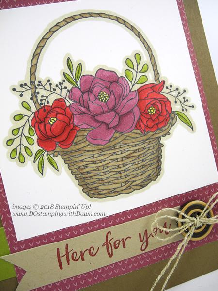 Stampin' Up! Sale-a-bration Blossoming Basket shared by Dawn Olchefske #dostamping #stampinup #handmade #cardmaking #stamping #diy #rubberstamping #papercrafting #blossomingbasketbundle #stampinblends #saleabration