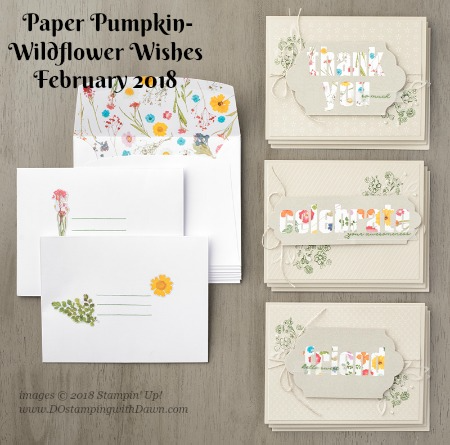 February 2018 Paper Pumpkin Kit Wildflower Wishes finished product