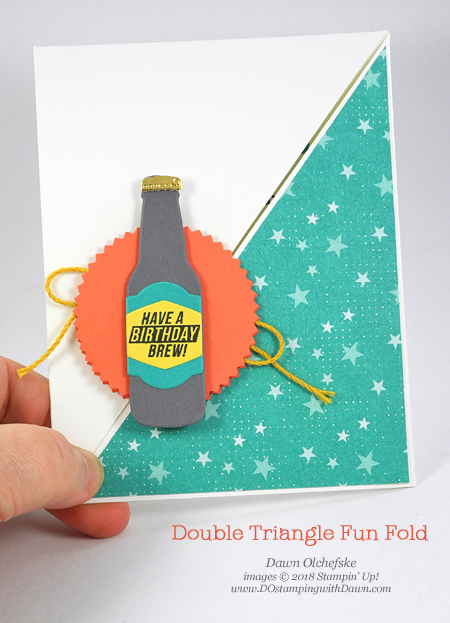 Stampin' Up! Bubble Over Bundle with Sale-a-Bration Bubble & Fizz DSP Double Triangle Fun Fold card video by Dawn Olchefske #dostamping  #stampinup #handmade #cardmaking #stamping #diy #rubberstamping #papercrafting #bubbles&fizzDSP #bubbleoverbundle #birthdaycard #doubletrianglefoldcard