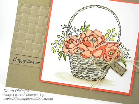 I'm lovin' Stampin' Up!'s Sale-a-Bration Blossoming Basket Bundle.  Card created by Dawn Olchefske #dostamping #stampinup #handmade #cardmaking #stamping #diy #rubberstamping #papercrafting #blossomingbasketbundle #basketweavetexturefolder #eastercard #stampinblends