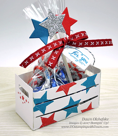 Stampin' Up! patriotic Wood Words Bundle craft by Dawn Olchefske for DOstamperSTARS Thursday Challenge #DSC237 #dostamping #woodcratethinlits #4thofjuly #stampinup #packagingideas