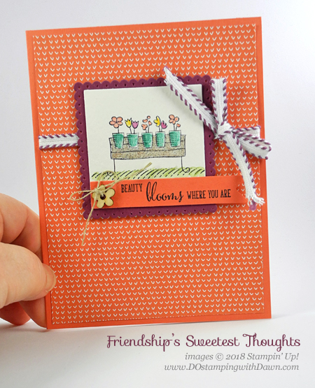 Stampin' Up! Friendship Sweetest Thoughts card shared by Dawn Olchefske for DOstamperSTARS Thursday Challenge #DSC276 #dostamping #stampinup #handmade #cardmaking #stamping #diy #rubberstamping #papercrafting #friendshipsweetestthoughts #watercolorpencils #tuttifruittidsp