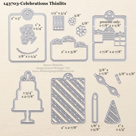 Stampin' Up! Celebration Thinlits Dies sizes shared by Dawn Olchefske #dostamping