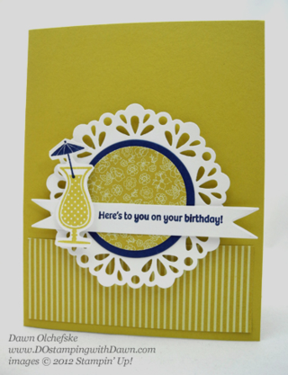 stampin up, dostamping, dawn olchefske, demonstrator, happy hour, patio party dsp, large delicate doilies sizzlet