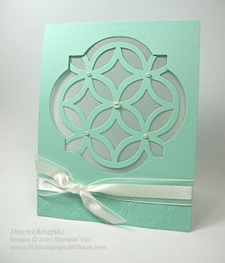 Use Stampin' Up! Window Frames Framelits and retired Lattice Die to create this lovely card, #dostamping #big shot #framelits