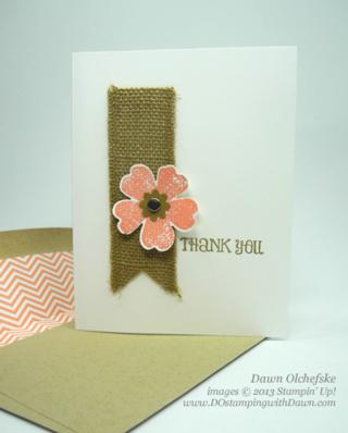 dostamping, Dawn Olchefske, Stampin' Up! Flower Shop, Burlap Ribbon card, #quickcute