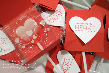 Valentine's Day Matchbook Sucker Cover Jan 2015 Filled with Love Paper Pumpkin ideas from Dawn Olchefske #dostamping #stampinup