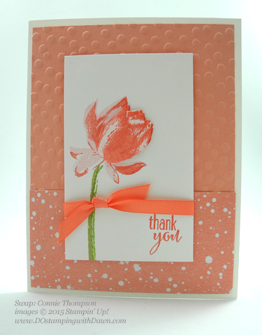 Sale-A-Bration Lotus Blossom swap card shared by Dawn Olchefske #dostamping #stampinup (Connie Thompson)
