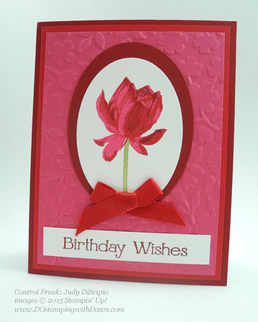 Sale-A-Bration Lotus Blossom swap card shared by Dawn Olchefske #dostamping #stampinup (Judy DiScipio)
