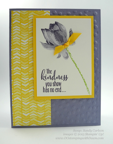 Sale-A-Bration Lotus Blossom swap card shared by Dawn Olchefske #dostamping #stampinup (Sandy Carlson)