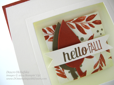 Window card with square framelit trick made with Color Me Autumn DSP by Dawn Olchefske, dostamping  #DSC107 #cardmaking  #stampinup