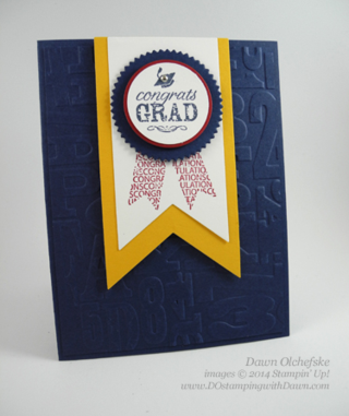 Graduation card using Blue Ribbon by Dawn Olchefske #dostamping #stampinup