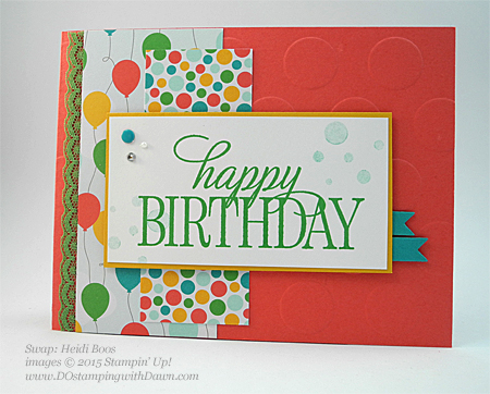 Happy Birthday Everyone swap cards shared by Dawn Olchefske #dostamping #stampinup, Heidi Boos