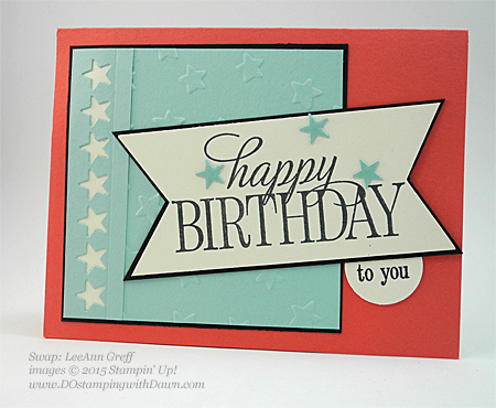 Happy Birthday Everyone swap cards shared by Dawn Olchefske #dostamping #stampinup, LeeAnn Greff