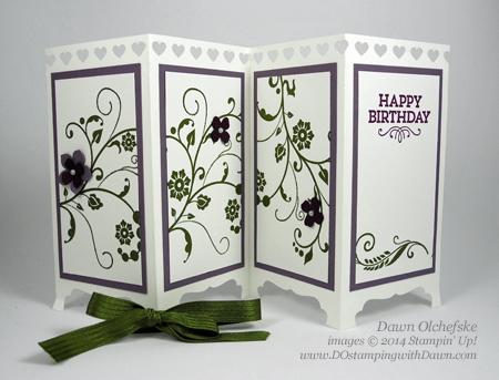 Flowering Flourishes Screen Divider Card shared by Dawn Olchefske #dostamping #stampinup