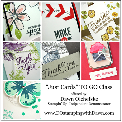 Just Cards TO GO Class - August 2015 offered by Dawn Olchefske #dostamping #stampinup