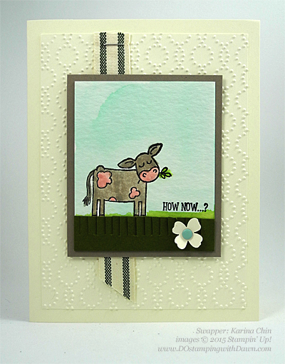 Barnyard Babies swap card shared by Dawn Olchefske #dostamping #stampinup (by Karina Chin)