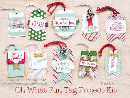 Oh What Fun Tag Project Kit shared by Dawn Olchefske #dostamping #stampinup