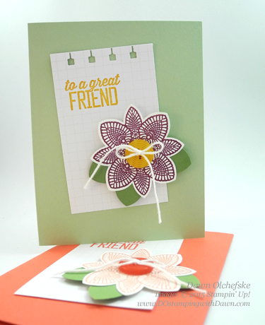 Flower Medallion Punch card created by Dawn Olchefske #dostamping #stampinup
