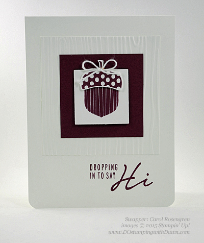 Acorny Thank You swap shared by Dawn Olchefske #dostamping #stampinup (Carol Rosegren)