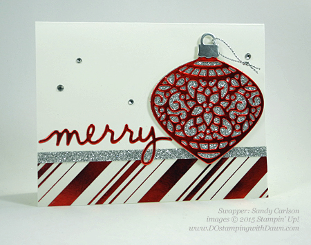 Embellished Ornament samples shared by Dawn Olchefske #dostamping #stampinup (Sandy Carlson)
