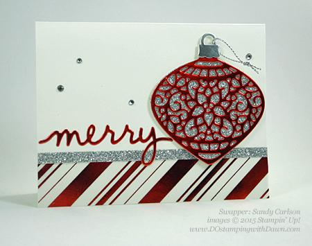 Embellished Ornament samples shared by Dawn Olchefske #dostamping #stampinup (Sandy Carlson)