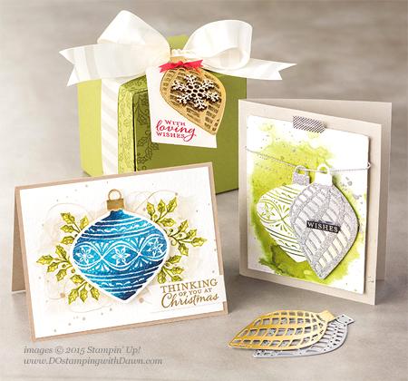 Embellished Ornament Bundle samples shared by Dawn Olchefske #dostamping #stampinup