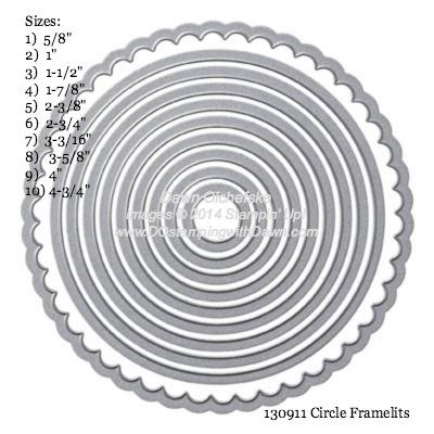 Circle Framelit sizes shared by Dawn Olchefske #dostamping #stampinup