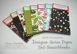 2016 Occasions Catalog DSP Swatchbooks offered by Dawn Olchefske #dostamping #stampinup