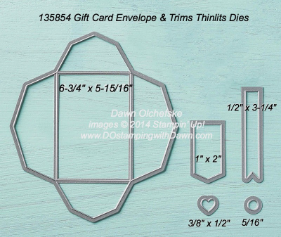 Gift Card Thinlit sizes shared by Dawn Olchefske #dostamping #stampinup
