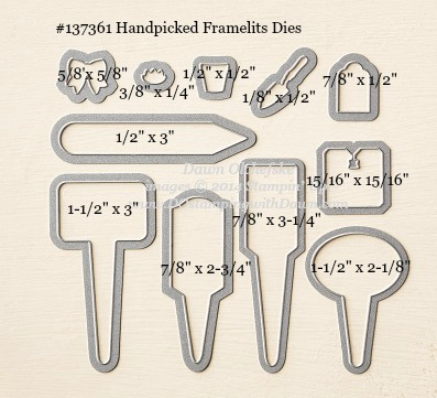 Handpicked Framelit sizes shared by Dawn Olchefske #dostamping #stampinup