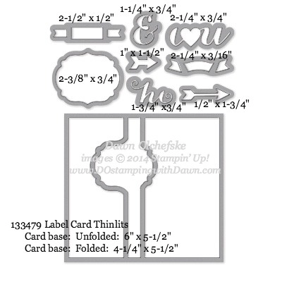 Label Card Thinlits sizes shared by Dawn Olchefske #dostamping #stampinup