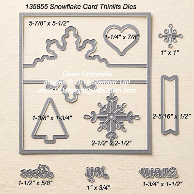 Snowflake Card Thinlit sizes shared by Dawn Olchefske #dostamping #stampinup