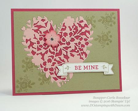 Bloomin' Love Swap Card Shared by Dawn Olchefske #dostamping #stampinup Carla Bosselaar