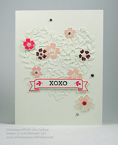 Bloomin' Love Swap Card Shared by Dawn Olchefske #dostamping #stampinup Jan Carlson